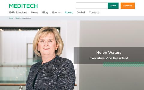 Screenshot of Team Page meditech.com - Helen Waters | MEDITECH - captured Feb. 20, 2020