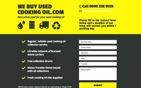 Screenshot of Home Page webuyusedcookingoil.com - We Buy Used Cooking Oil - captured Aug. 15, 2015