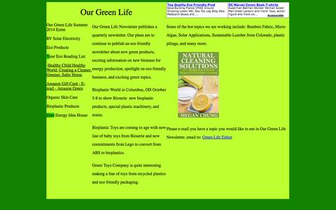 Screenshot of Home Page ourgreenlife.info - Our Green Life - captured Sept. 30, 2014