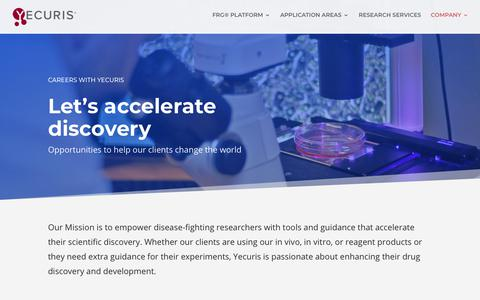 Screenshot of Jobs Page yecuris.com - Careers | Yecuris FRG: humanized animals and human hepatocytes platform for your next great discovery. - captured May 17, 2018