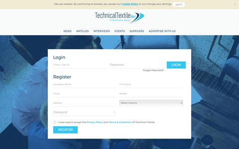 Screenshot of Signup Page technicaltextile.net - Technical Textiles - Log In or Sign Up - captured Oct. 20, 2018