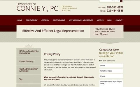 Screenshot of Privacy Page connieyilaw.com - Privacy Policy | Law Offices of Connie Yi, PC | Pleasanton, CA - captured Oct. 2, 2014