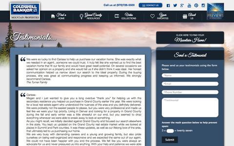Screenshot of Testimonials Page cbmp.com - Real Estate Testimonials   Coldwell Banker Mountain Properties - captured Oct. 3, 2014