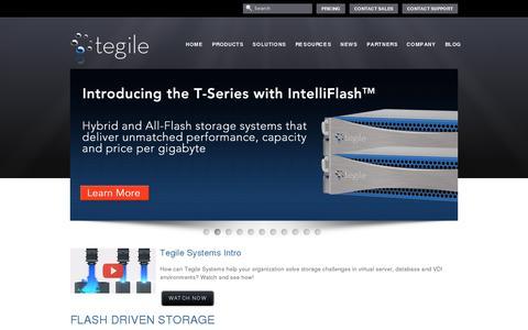 Screenshot of Home Page tegile.com - Enterprise Data Storage, Virtualization Management Solutions | Tegile - captured July 11, 2014