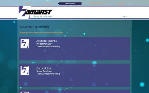 Screenshot of Testimonials Page amanst.co.uk - Amanst | Testimonials - captured Oct. 3, 2018