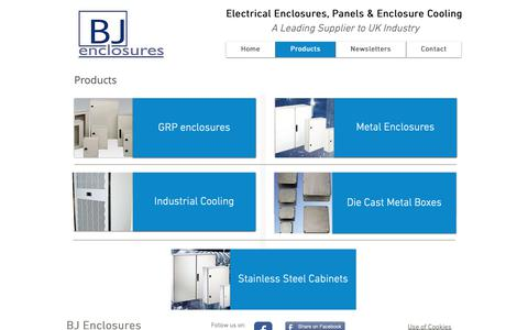Screenshot of Products Page bjenclosures.co.uk - A full range of enclosure products for industrial applicaitons - captured Oct. 4, 2018