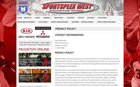 Screenshot of Privacy Page sportsplexwest.com - Privacy Policy | SportsPlex West - captured Oct. 20, 2018