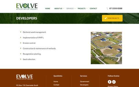 Screenshot of Developers Page evolveenvironmental.com.au - Developers | Evolve Environmental Solutions - captured Oct. 3, 2014