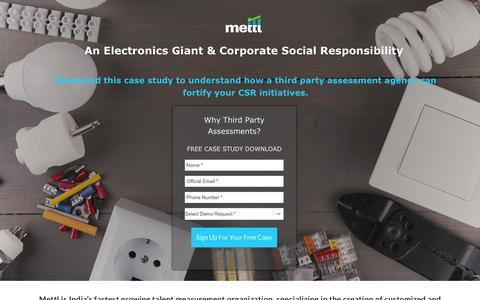 Screenshot of Landing Page mettl.com - Case Study On CSR Trainings - captured Jan. 14, 2017