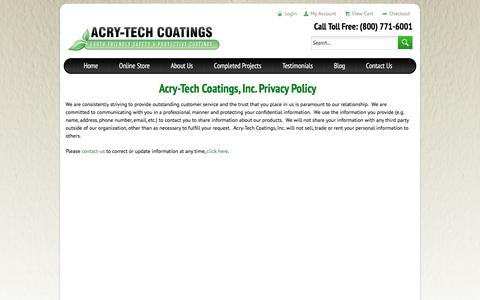Screenshot of Privacy Page acrytech.com - Privacy Policy - Acry-Tech Coatings - captured Nov. 20, 2016