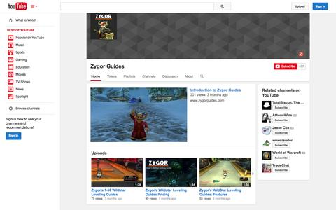 Screenshot of YouTube Page youtube.com - Zygor Guides  - YouTube - captured Oct. 29, 2014