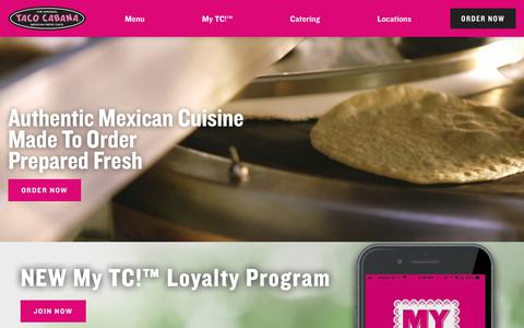 Screenshot of Home Page tacocabana.com - Mexican Fast Casual Restaurant | Taco Cabana - captured June 14, 2019