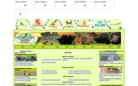 Screenshot of Site Map Page naturelinksafaris.co.ug - Book Gorilla Safaris, Wildlife Tours, Uganda Eco-tours, Africa cultural tours, Rwanda Tours, Birding Safaris, Car Rentals, Uganda Hotels with Nature Link Safaris Uganda - captured Feb. 13, 2016