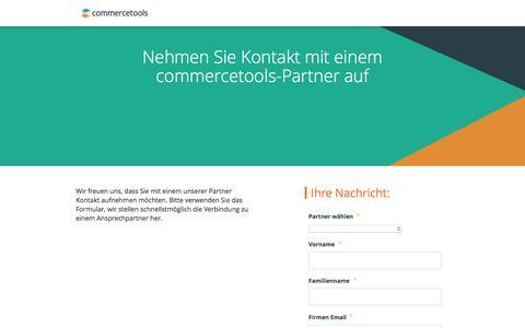 Screenshot of Landing Page commercetools.com - Contact a partner - captured July 9, 2016
