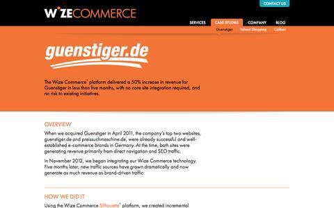 Screenshot of Case Studies Page wizecommerce.com - Guenstiger | Wize Commerce - captured Sept. 18, 2014