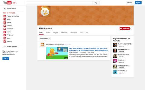 Screenshot of YouTube Page youtube.com - kUbStinters  - YouTube - captured Oct. 25, 2014