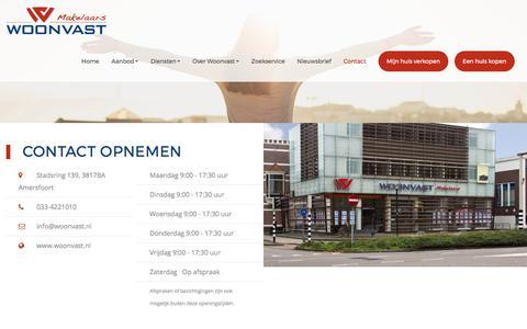 Screenshot of Contact Page woonvast.nl - Contact opnemen - captured Oct. 22, 2017