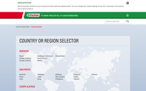 Screenshot of Home Page castrol.com - Country Selector | Castrol Global | Country Selector | Castrol Global Home - captured Sept. 25, 2014
