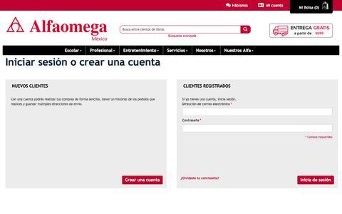 Screenshot of Login Page alfaomega.com.mx - Inicio de sesión del cliente - captured June 27, 2017