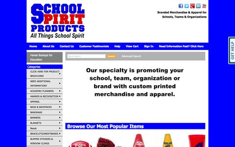 Screenshot of Home Page schoolspiritproducts.com - School Spirit Products, Booster Club Spirit Items, PTA, PTO fundraising items, School Spirit Items - captured Oct. 4, 2014