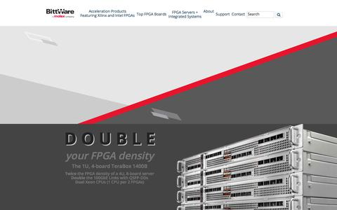 Screenshot of Home Page bittware.com - BittWare Accelerator Boards, PCIe Cards, and Integrated Systems Featuring Xilinx and Intel FPGAs - BittWare FPGA Acceleration - captured Aug. 9, 2019
