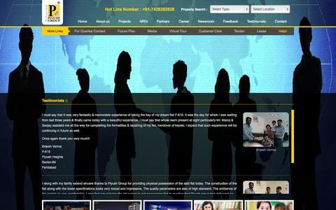 Screenshot of Testimonials Page piyushgroup.com - Piyush Group :: The Essence of Life - captured July 21, 2015