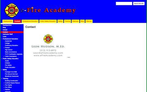 Screenshot of Contact Page efireacademy.com - Contact - e-Fire Academy - captured Sept. 30, 2014