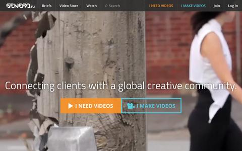 Screenshot of Home Page genero.tv - Music Video and Brand Video Production | Genero.tv - captured Dec. 7, 2015