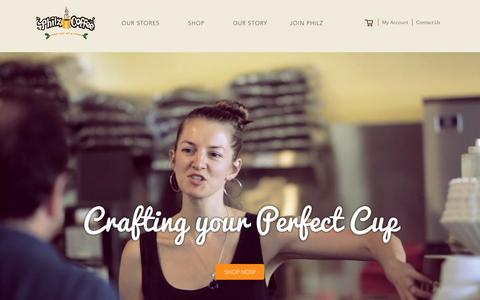 Screenshot of Home Page philzcoffee.com - Philz Coffee - captured Feb. 12, 2016