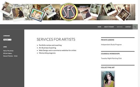 Screenshot of Services Page stewartfletcherstudios.com - Services for ArtistsServices pour les artistes - Stewart Fletcher Studios - captured Nov. 5, 2014