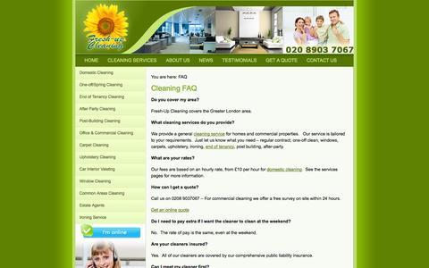 Screenshot of FAQ Page freshupcleaning.co.uk - FAQ - Fresh-Up Cleaning London - captured Sept. 25, 2014