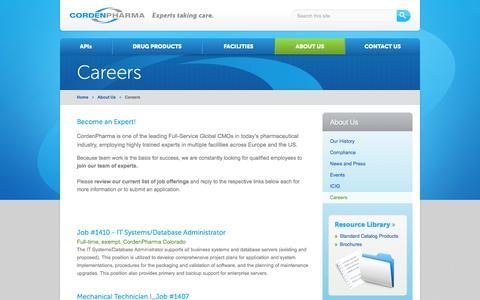 Screenshot of Jobs Page cordenpharma.com - Careers ~ Job Postings  CordenPharma - captured Sept. 13, 2014