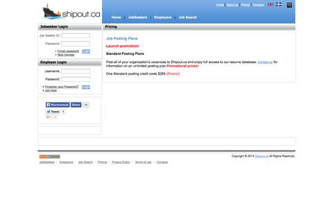 Screenshot of Pricing Page shipout.ca - Shipout.ca - captured Oct. 7, 2014