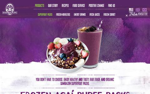 Screenshot of Products Page sambazon.com - Frozen Açaí Puree Packs | Sambazon - captured July 13, 2018