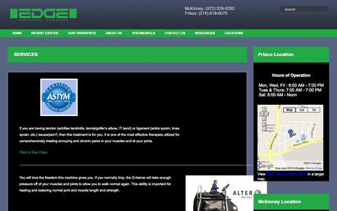 Screenshot of Services Page edgetherapy.net - Services | Edge Physical Therapy - captured Oct. 1, 2014