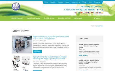 Screenshot of Press Page bigneat.com - Latest News   Bigneat ductless fume hoods, cabinets, enclosures and robotics enclosures - captured Oct. 5, 2018