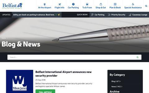 Screenshot of Blog belfastairport.com - Blog & News | Belfast International Airport - captured Oct. 5, 2018