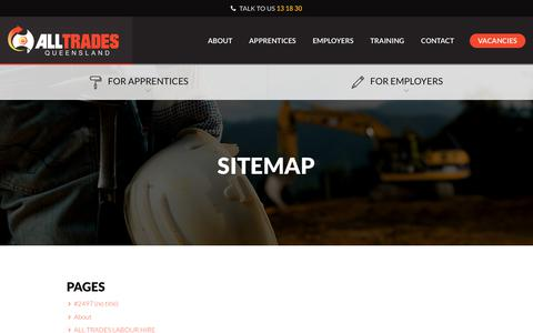 Screenshot of Site Map Page atq.com.au - Sitemap | All Trades Queensland - captured Oct. 8, 2017