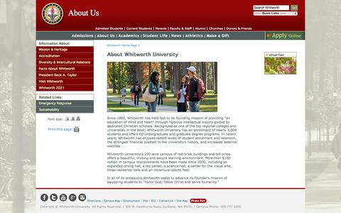 Screenshot of About Page whitworth.edu - Whitworth University - About Us - captured Sept. 24, 2014