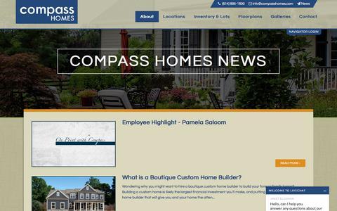 Screenshot of Blog Press Page compasshomes.com - News & Updates – Ohio Custom Home Builders | Compass Homes - captured July 20, 2018