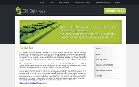 Screenshot of About Page cnservices.co.za - About Us - captured Sept. 26, 2014