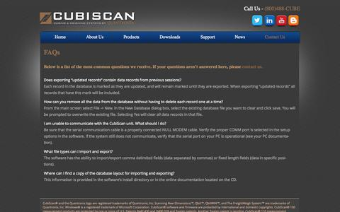 Screenshot of FAQ Page cubiscan.com - Common Solutions for Dimensioning and Weighing Support / CubiScan Tech Support | CubiScan - captured Sept. 30, 2014