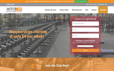Screenshot of Signup Page trevorlindenfitness.com - Sign Up Today! | Club 16 // Trevor Linden Fitness - captured June 12, 2019