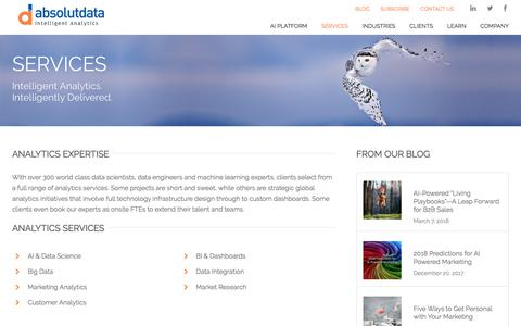 Screenshot of Services Page absolutdata.com - Big Data Analytics   Machine Learning   Marketing Analytics    Absolutdata - captured July 12, 2018
