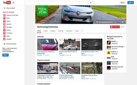 Screenshot of YouTube Page youtube.com - TechnologicVehicles  - YouTube - captured Oct. 26, 2014