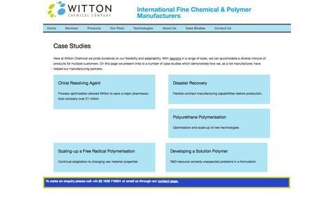 Screenshot of Case Studies Page witton.com - Case Studies at Witton Chemical. - captured Oct. 26, 2014