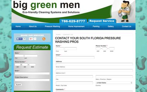 Screenshot of Contact Page biggreenmen.com - Contact Us - Miami Pressure Washing - captured Jan. 3, 2016