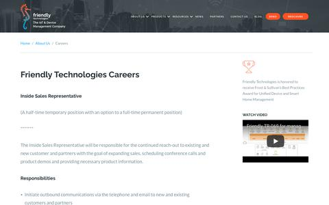 Screenshot of Jobs Page friendly-tech.com - Friendly Technologies Careers | Join Our Amazing Team - captured Oct. 11, 2018