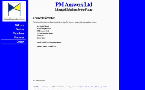 Screenshot of Contact Page pm-answers.com - PM Answers Ltd - Resources - captured Oct. 1, 2014