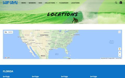 Screenshot of Locations Page surfstyle.com - Locations - captured Oct. 25, 2017